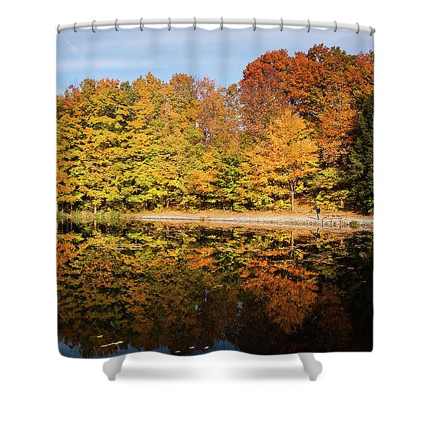Fall Ontario Forest Reflecting In Pond  Shower Curtain