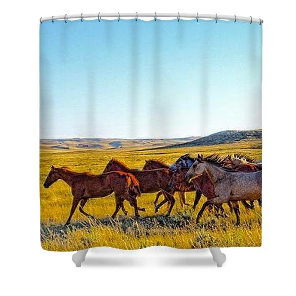 Fall Run In Patina Shower Curtain