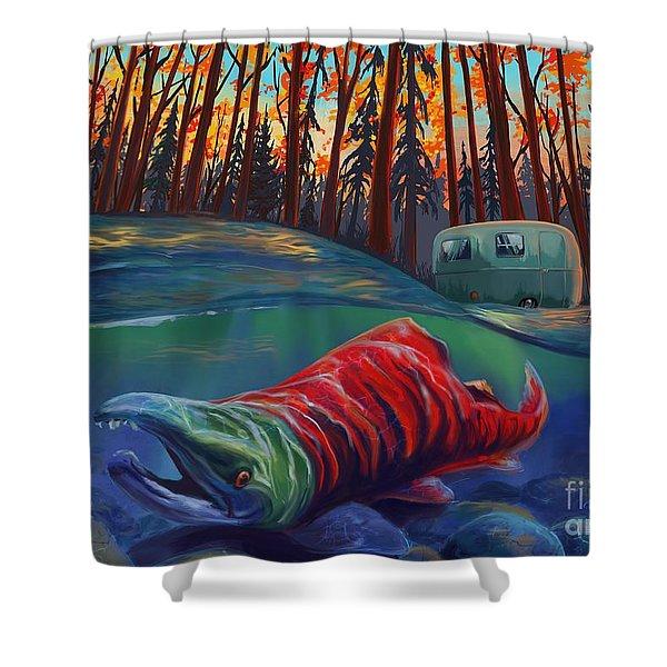 Fall Salmon Fishing Shower Curtain