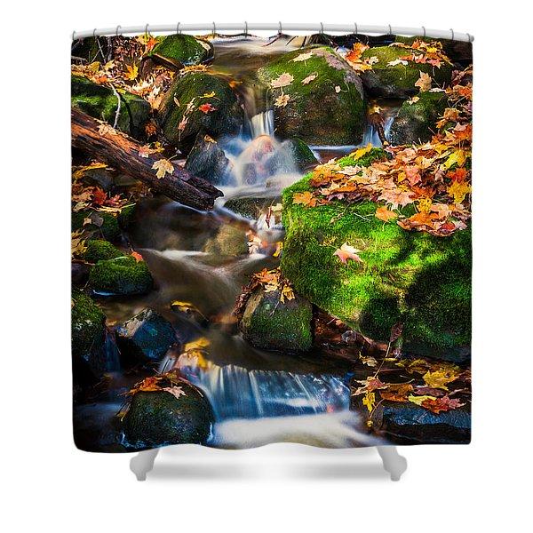 Fall Seasonal Water Cascade Shower Curtain