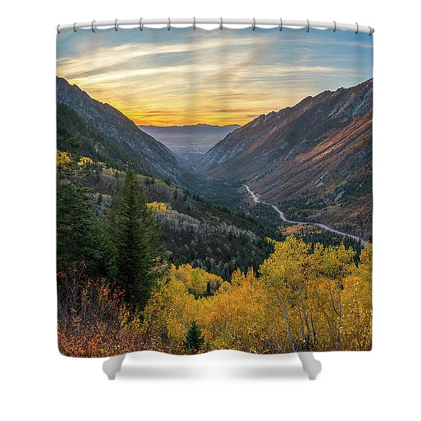 Fall Sunset In Little Cottonwood Canyon Shower Curtain