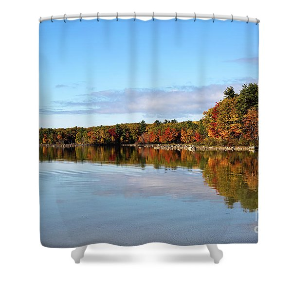 Fall Tree Reflections Lake Sabago Maine Shower Curtain