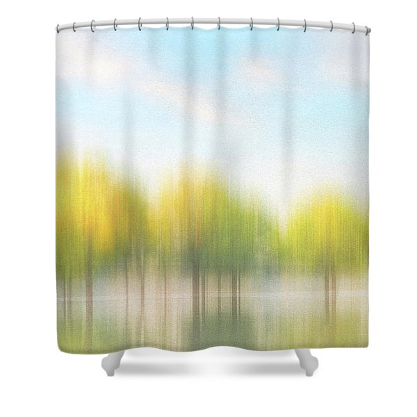 Fall Trees On Flooded Lake Shower Curtain