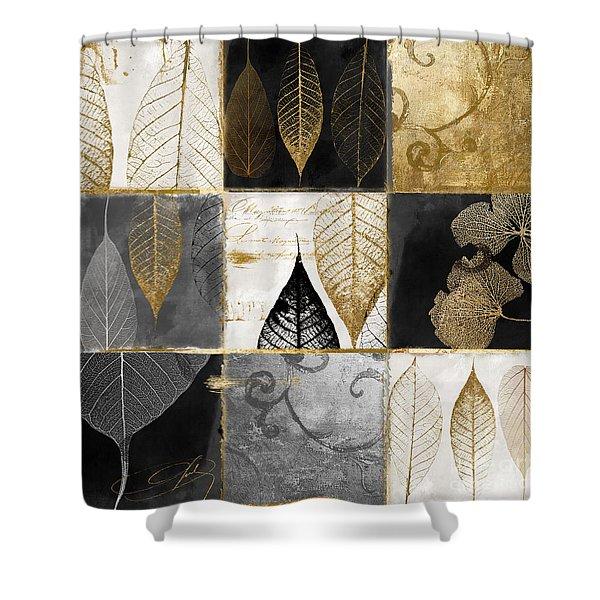 Fallen Gold Autumn Leaves Shower Curtain