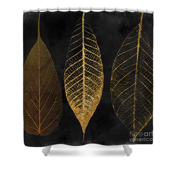 Fallen Gold II Autumn Leaves Shower Curtain