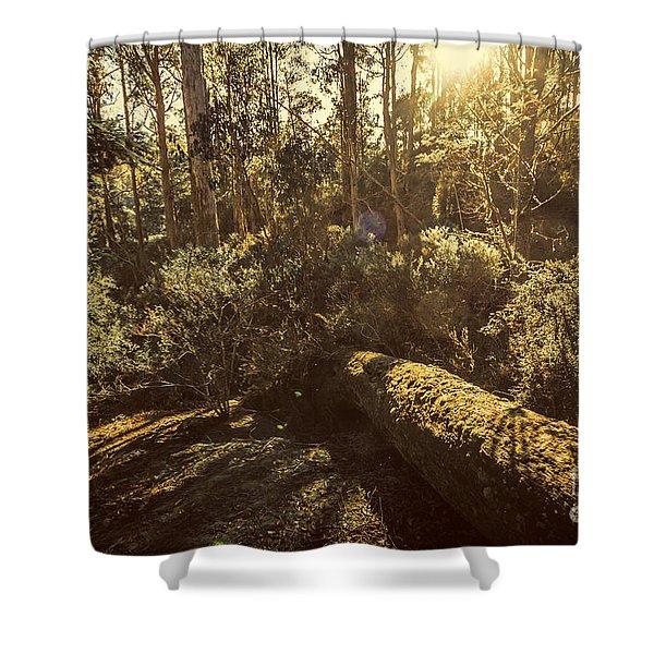 Fallen Tree In Foliage Shower Curtain