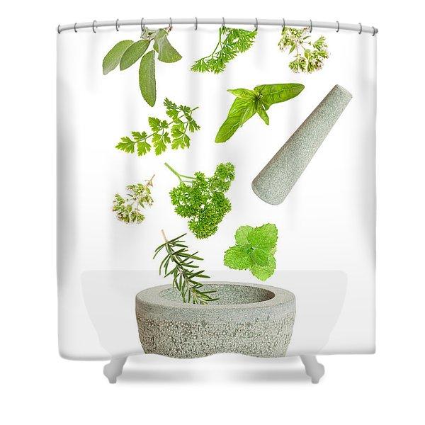Falling Herbs Shower Curtain