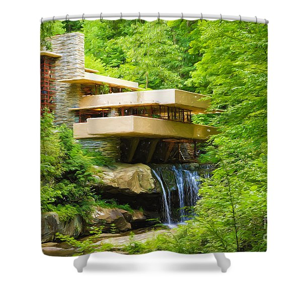 Fallingwater Painterly L Shower Curtain