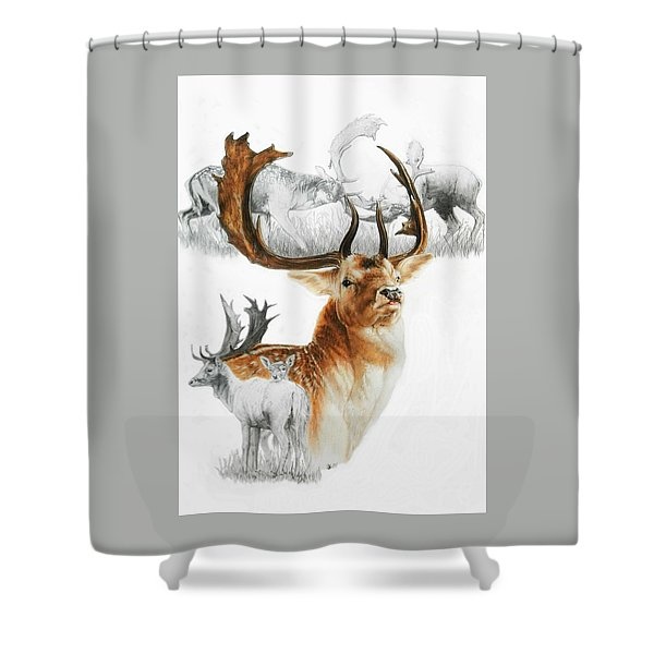 Shower Curtain featuring the mixed media Fallow Deer by Barbara Keith