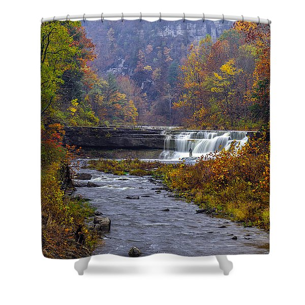 Falls Fishing Shower Curtain