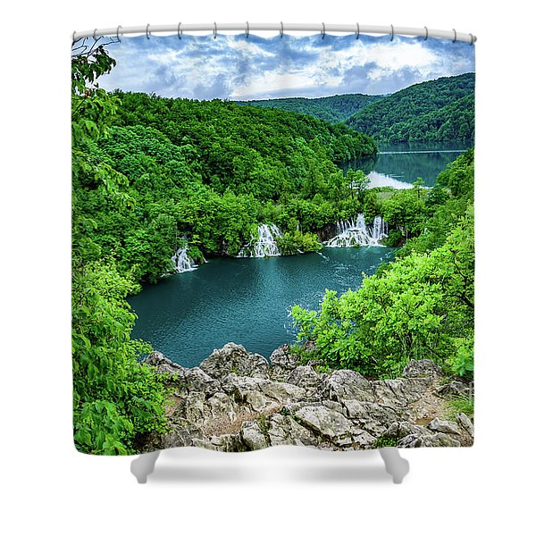 Falls From Above - Plitvice Lakes National Park, Croatia Shower Curtain