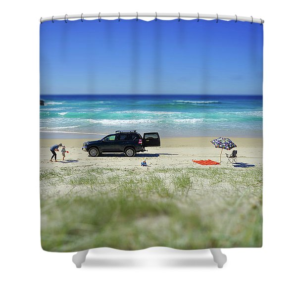 Family Day On Beach With 4wd Car  Shower Curtain