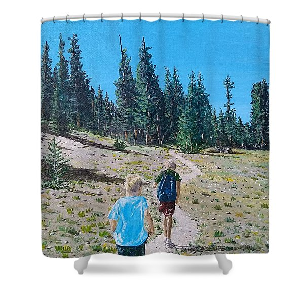 Shower Curtain featuring the painting Family Hike by Kevin Daly