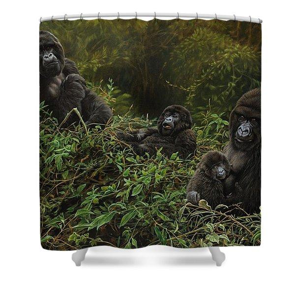 Family Of Gorillas Shower Curtain