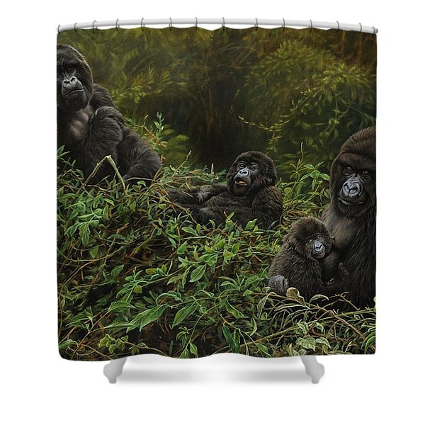 Shower Curtain featuring the painting Family Of Gorillas by Alan M Hunt