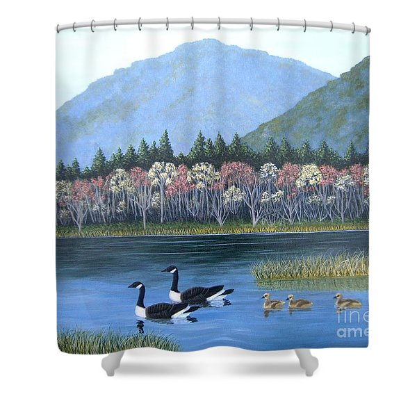 Shower Curtain featuring the painting Family Outing by Tracey Goodwin