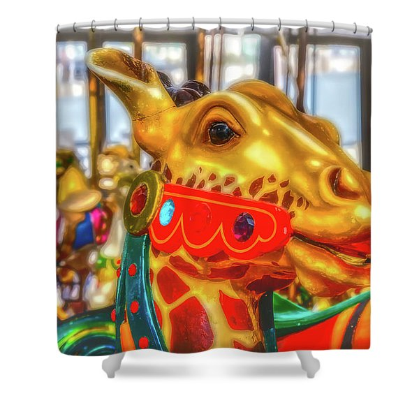 Fantasy Giraffe Carrousel Ride Shower Curtain