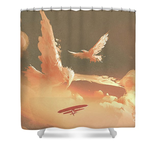 Shower Curtain featuring the painting Fantasy Sky by Tithi Luadthong
