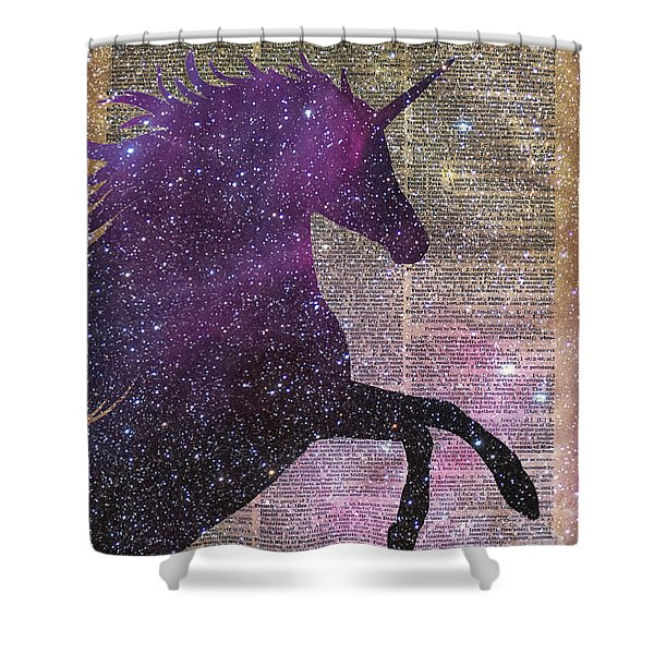 Fantasy Unicorn In The Space Shower Curtain