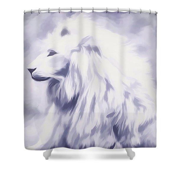Fantasy White Lion Shower Curtain
