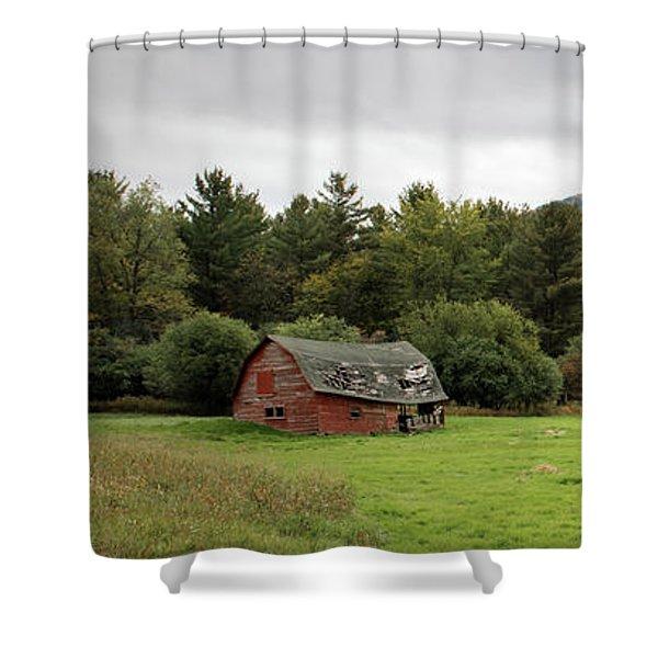 Farewell Red Barn Shower Curtain