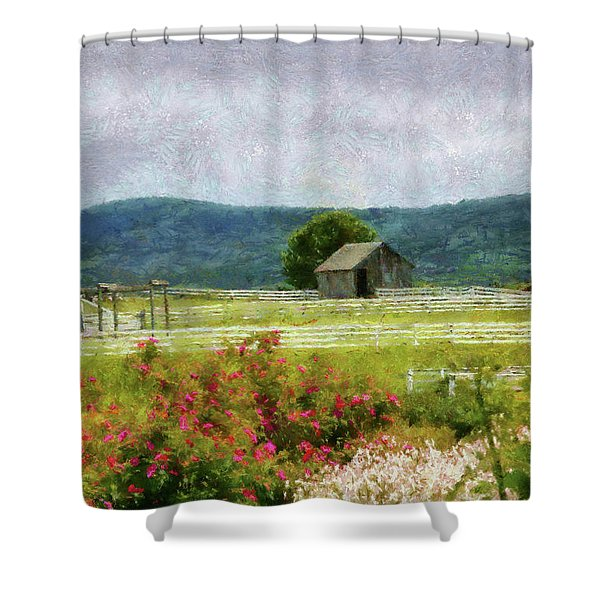 Farm - Barn - Out in the country  Shower Curtain by Mike Savad