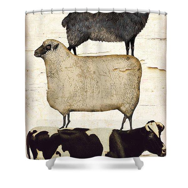 Farm Animals Pileup Shower Curtain
