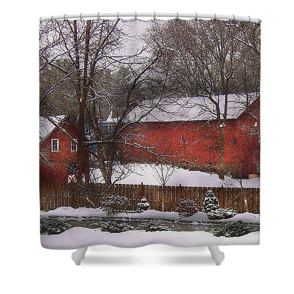 Farm - Barn - Winter In The Country  Shower Curtain