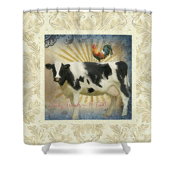 Farm Fresh Damask Milk Cow Red Rooster Sunburst Family N Friends Shower Curtain