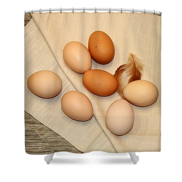 Farm Fresh Eggs Shower Curtain