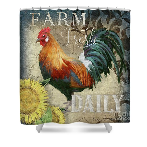 Farm Fresh Red Rooster Sunflower Rustic Country Shower Curtain