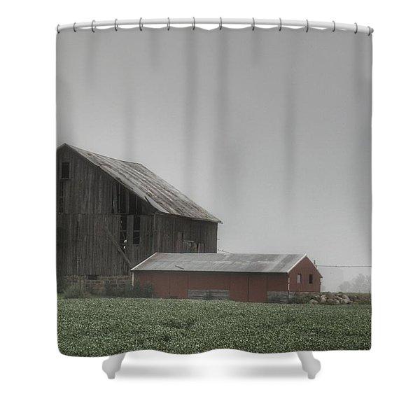0011 - Farm In The Fog II Shower Curtain