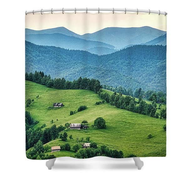 Farm In The Mountains - Romania Shower Curtain