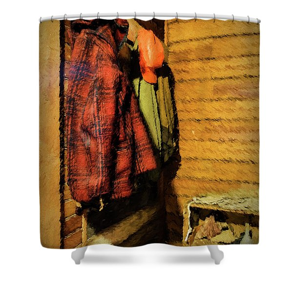 Shower Curtain featuring the photograph Farm Jackets by Tom Singleton