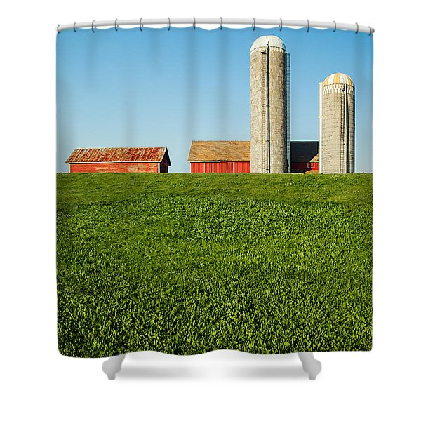 Farm Silos And Shed On Green And Against Blue Shower Curtain