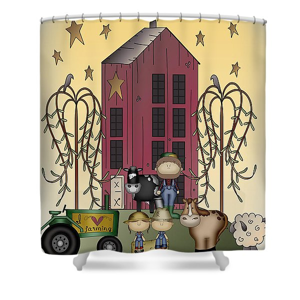 Farm Sweet Farm-jp2842 Shower Curtain