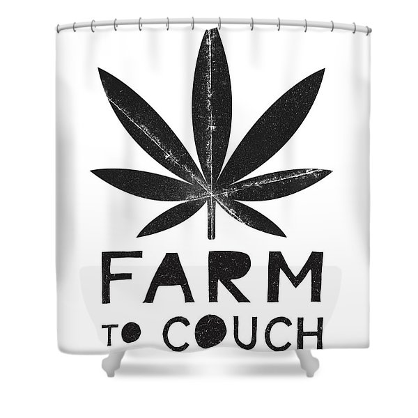 Farm To Couch Black And White- Cannabis Art By Linda Woods Shower Curtain