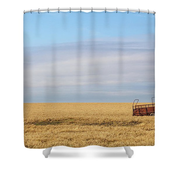 Farm Trailer In The Middle Of Field Shower Curtain