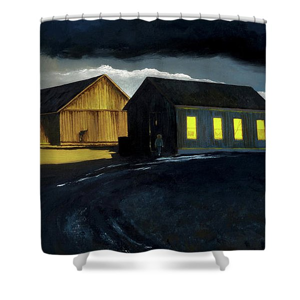 Farm Yard With Moonlight And Rain Shower Curtain