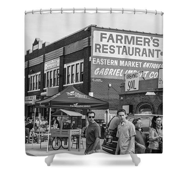 Farmers Restaurant In Detroit Black And White  Shower Curtain