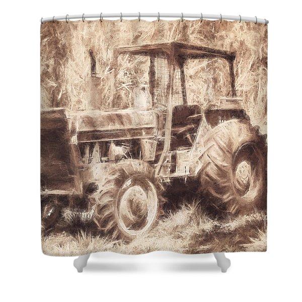 Farmers Tractor Working In Australia Farmyard Shower Curtain