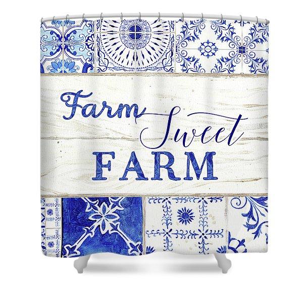 Farmhouse Blue And White Tile 5 - Farm Sweet Farm Shower Curtain