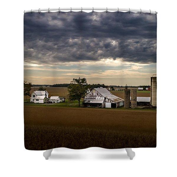 Farmstead Under Clouds Shower Curtain