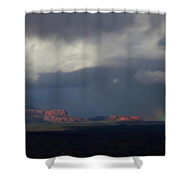 Fat Ground Rainbow, Red Rocks Sedona Shower Curtain