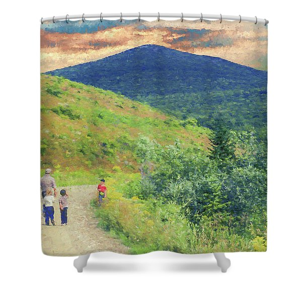 Father And Children Walking Together Shower Curtain