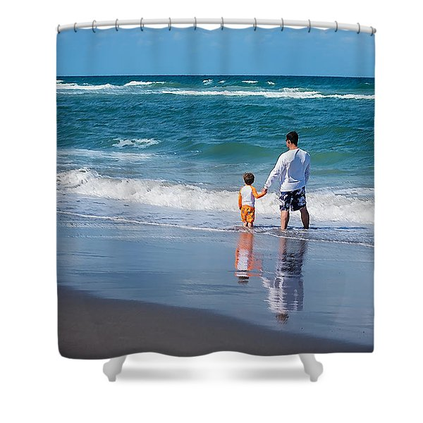 Shower Curtain featuring the photograph Father And Son by Jody Lane
