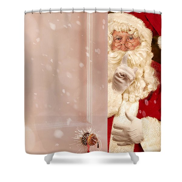 Father Christmas At The Door Shower Curtain