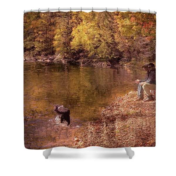 Father,son And Dog Shower Curtain