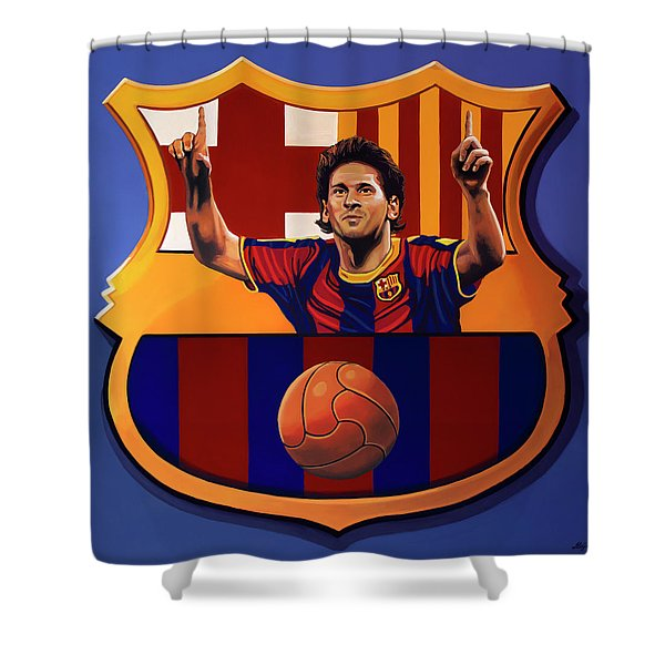 Fc Barcelona Painting Shower Curtain