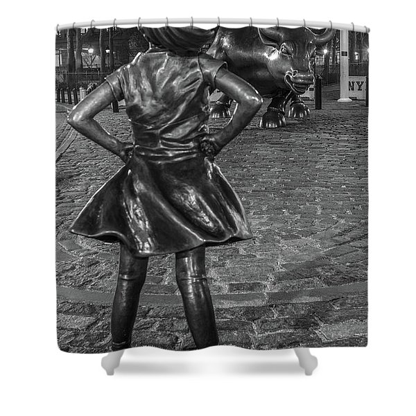 Fearless Girl And Charging Bull Nyc Shower Curtain